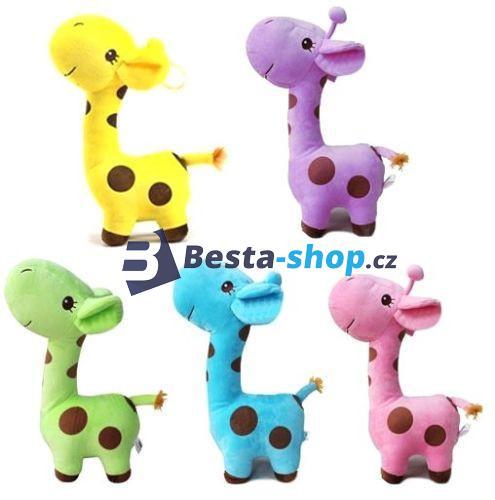 Barevná plyšová žirafa 25 cm