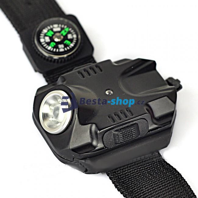 LED baterka na zápěstí s kompasem BL-2211