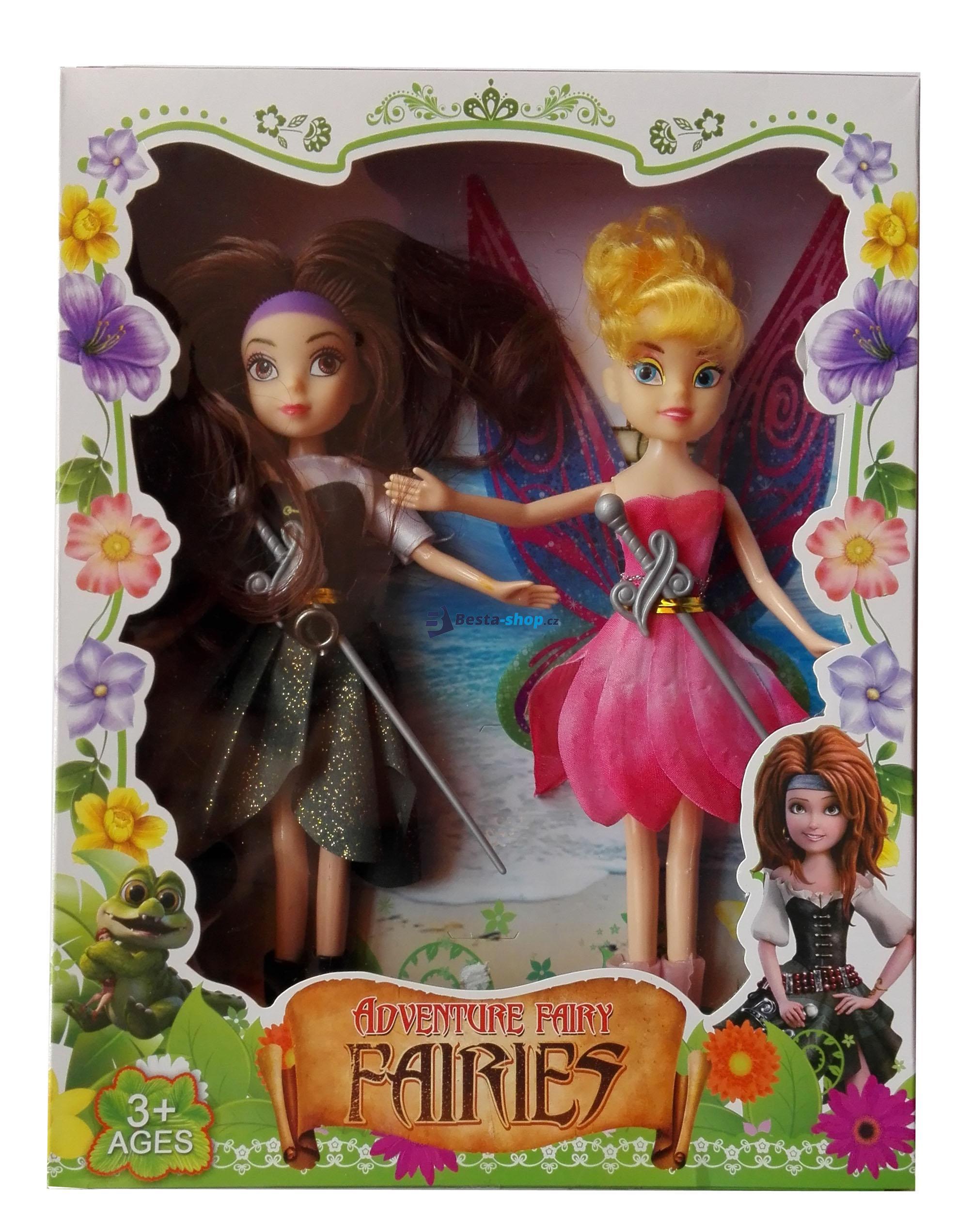 Fairies panenky Zarina a Zvonilka v růžových šatech - 23 cm