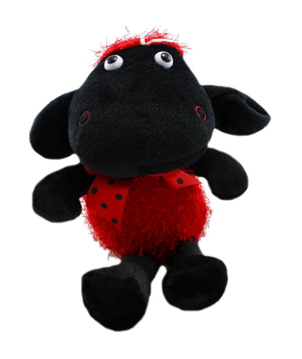 Plyšová ovečka červená - 40 cm