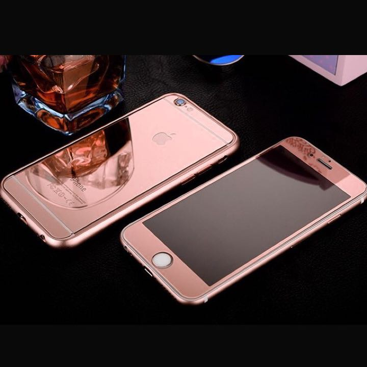 Zrcadlové tvrzené sklo Mirrori (přední + zadní) pro iPhone 5/5s Rose