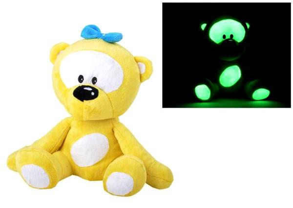 Medvídek svítící ve tmě 30cm žlutý
