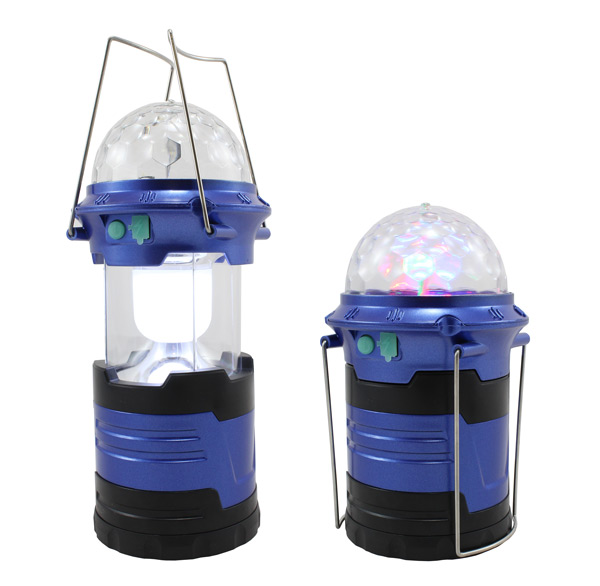 Kempingová svítilna, lampa 2v1 disco koule