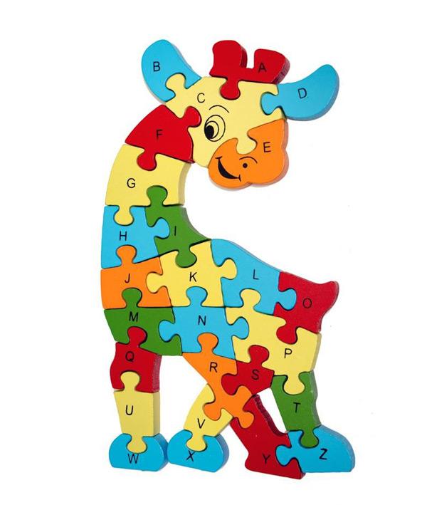 Dřevěné puzzle žirafa 28cm