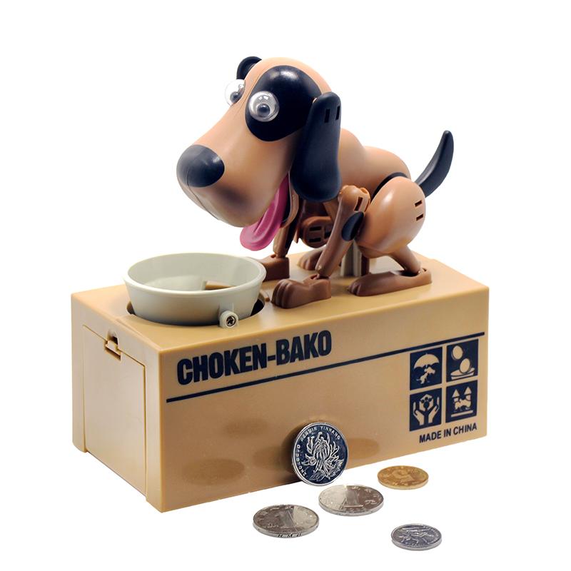 Pokladnička na mince - hladový pes hnědý se skvrnami