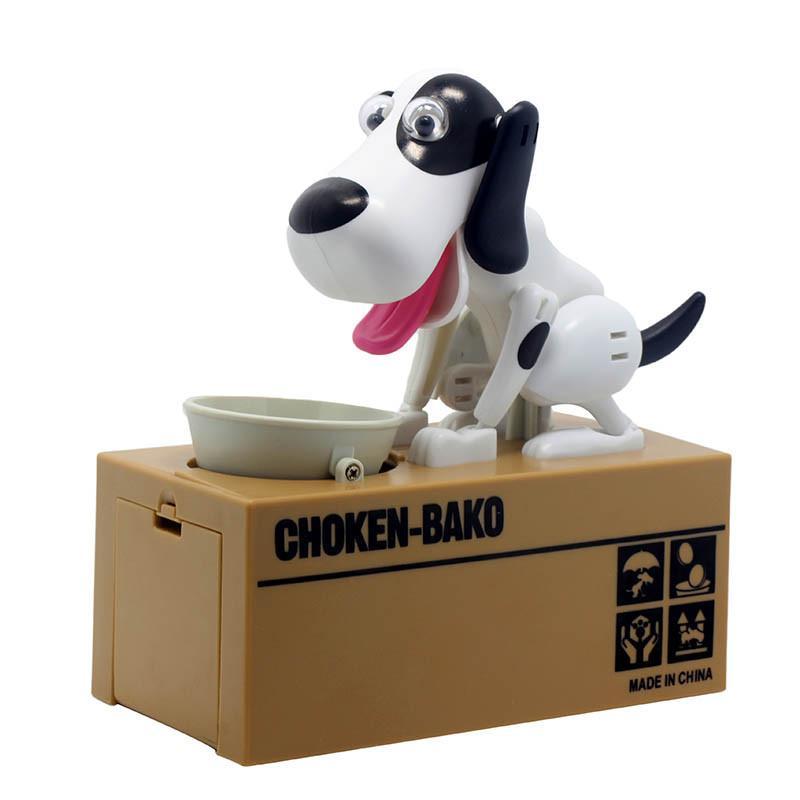 Pokladnička na mince - hladový pes bílý se skvrnami