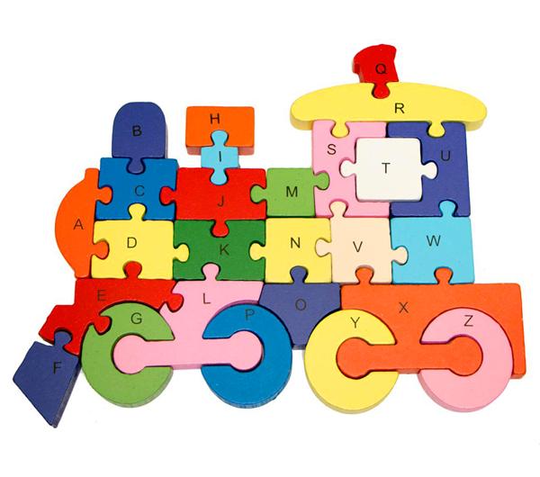 Dřevěné puzzle vlak