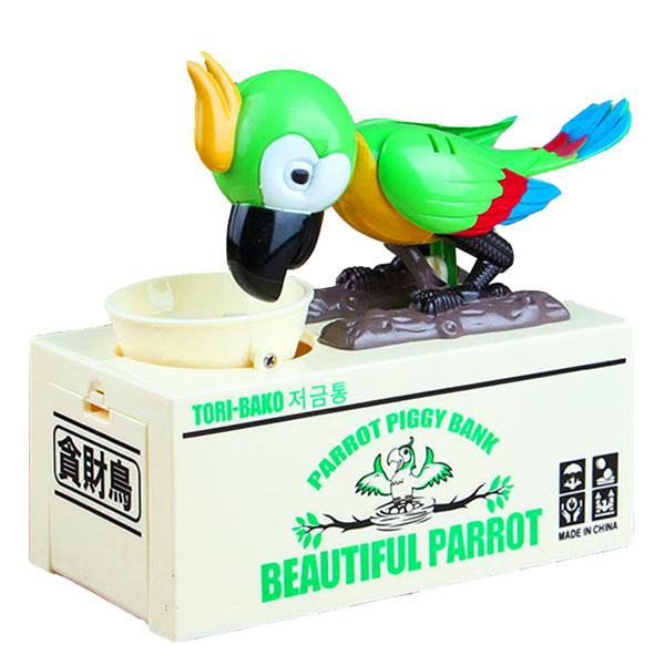 Pokladnička na mince - hladový papoušek zelený