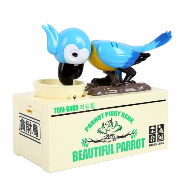 Pokladnička na mince - hladový papoušek modrý