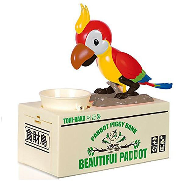 Pokladnička na mince - hladový papoušek červený