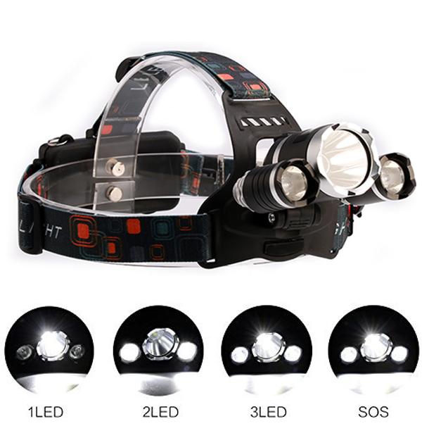 Čelová svítilna se zoomem (čelovka) 3x CREE LED