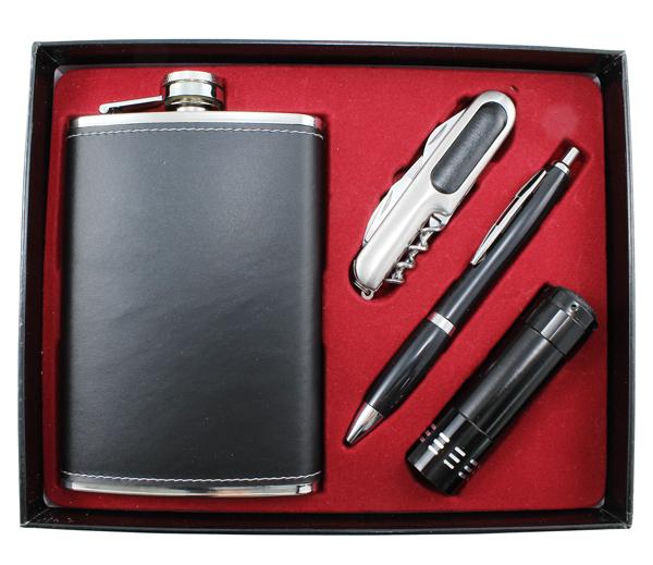 Placatka z nerezové ocele s propiskou, nožíkem a baterkou - 266 ml