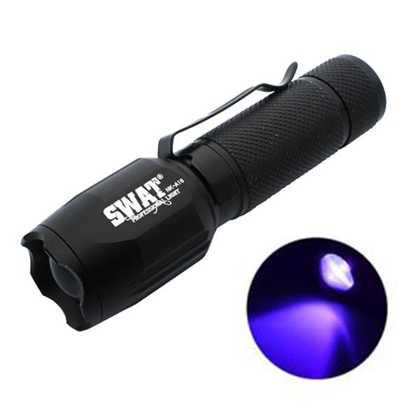 LED UV SWAT baterka zoom, dobíjecí 10cm